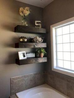 shelf floating shelf floating shelves rustic bathroom - Floating Shelves - Ideas of Floating Shelves Rustic Shelves, Wooden Shelves, Wall Shelves, Glass Shelves, Large Shelves, Wood Shelf, Corner Shelves, Floating Shelves Bathroom, Small Bathroom