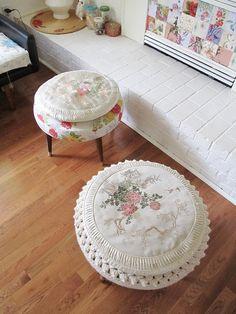 "shabby chic pouf ottoman | slipcovered small footstool/ottoman (aka ""dumptie"" by Dottie Angel)"