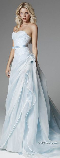 blumarine 2013 bridal light blue wedding dress strapless flange skirt, this is so beautiful! Light Blue Wedding Dress, Blue Wedding Dresses, Blue Dresses, Bridesmaid Dresses, Periwinkle Wedding, Dresses 2013, Wedding Robe, Wedding Gowns, Ribbon Wedding
