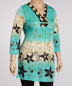 Take a look at this Sky Blue & Black Floral Tunic - Plus by Life and Style Fashions on #zulily today!