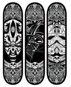 Star Wars Skateboard Decks by Joshua Smith Star Wars Skateboard, Skateboard Deck Art, Skateboard Design, Longboard Design, Skates, Tableau Star Wars, Skate Bord, Fun Winter Activities, Skate Decks