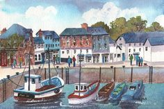 Watercolour Print, Padstow Harbour, Cornwall, England, Xmas Gift Idea, Art And Collectibles