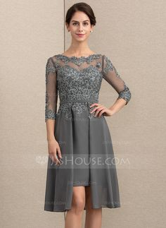 93f0165cbc1 A-Line Princess Scoop Neck Asymmetrical Chiffon Lace Mother of the Bride  Dress With Beading Sequins - DressFirst