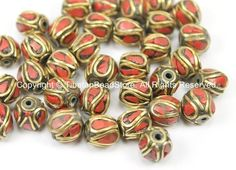 2 BEADS Tibetan Beads with Brass, Coral Inlays - TibetanBeadStore - Handmade Brass Inlay Beads - Tibetan Beads Jewelry Supply - B2749-2