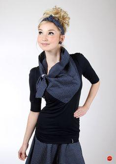 """T-Shirts uni V-Ausschnitt - MEKO """"Bunny"""" Shirt Blau Damen Schleife - ein Designerstück von meko bei DaWanda"""