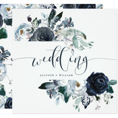 Boho Navy Peony Wedding | Modern Calligraphy Card