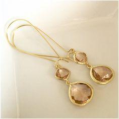 Gold Peach Earrings - Long Dangle Earrings - Champagne Crystal Earrings - Delicate Glass Earrings - Bridal Earrings - Bridesmaid Jewerly