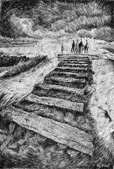 Fingerprint - Storm.  Black ink drawing. By Nicolas Jolly