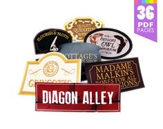 28 Diagon Alley Signs  - Harry Potter Party with High Quality Printable PDF Pages - INSTANT DOWNLOAD $11