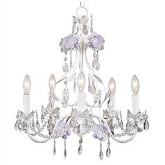 Lavender and White Flower Garden Chandelier ($388) ❤ liked on Polyvore featuring home, lighting, ceiling lights, white lights, white flower chandelier, white hanging lamp, white chandelier lighting and petal lamp