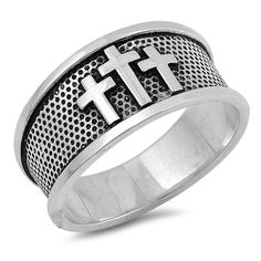 10mm Cross Band Ring Unisex Men Women 925 Sterling Silver Choose Color