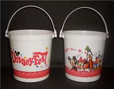 Disney Fest plastic food pails vintage