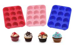 Cupcake Silicone Mould Muffin Tin Bakeware Pan Baking Cake Tray Sweets 12 Cups