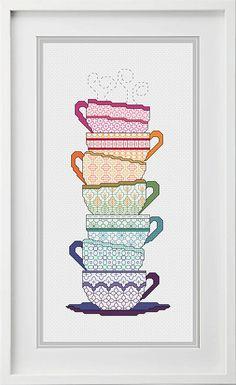 Blackwork Teacups Pattern BlackWork Tea cups Coloured