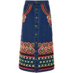 Manish Arora Tribal Noir Hand Embroidered Long Denim Skirt ($1,295) ❤ liked on Polyvore featuring skirts, button front denim skirt, denim maxi skirt, a line midi skirt, long denim skirts and blue maxi skirt