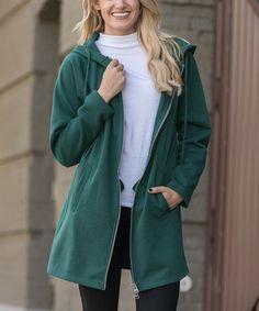 Zenana Hunter Green Fleece-Lined Oversize Zip-Up Hoodie - Women & Plus Hunter Green, Hue, Zip Ups, Raincoat, Bomber Jacket, Winter Jackets, Pairs, Hoodies, High Point