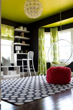 eclectic living room by alisha gwen interior design love this color scheme Teen Lounge, Eclectic Living Room, Living Room Decor, Home Renovation, Teen Hangout Room, Bubble Chair, Decoration Inspiration, Green Rooms, Teen Girl Bedrooms