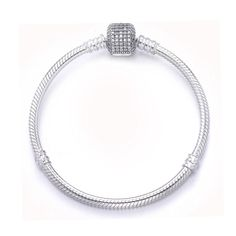 767bb3cd4 Luxury 100% 925 Sterling Silver Bracelet Signature Clasp Crystal Snake  Chain Bracelet & Bangle Fit