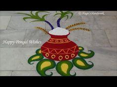 Pongal Rangoli Design-Pongal Kolam Design with colours By Nagu's Handwork