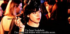 I'm Janet Snakehole. I'm a very rich widow with a terrible secret.