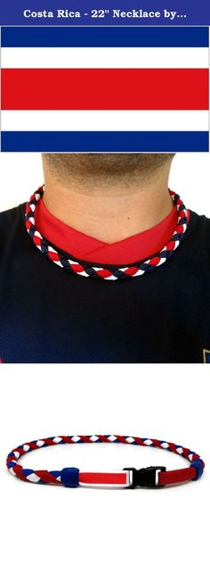 """Costa Rica - 22"""" Necklace by Swannys. Made with actual soccer shoe laces. This item will definitely stand out in the crowd. Celebrate your love for soccer with this one-of-a-kind item!."""