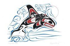 Haida orca w/ wave