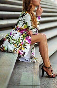 White floral dress. Latest arrivals 2015.