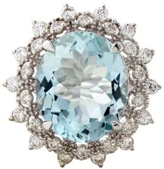 14K White Gold 6.50ct Aquamarine and Diamond Ring Vintage design  It's Gorgeous SLVH ♥♥♥