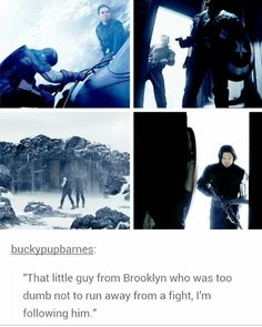 Bucky looses an arm every time he follows Steve to a snowy place. WHEN WILL YOU LEARN, BUCK