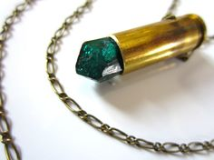 dioptase crystal bullet necklace