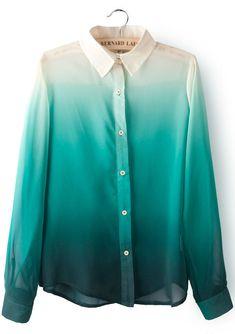 Green Gradients Lapel Long Sleeve Chiffon Blouse