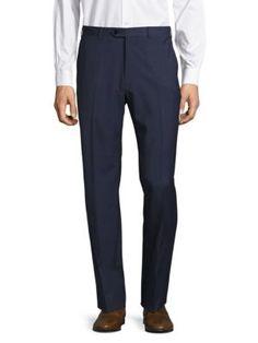 GIORGIO ARMANI Woolen Flat-Front Dress Pants. #giorgioarmani #cloth #pants