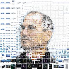 this is a very beautiful graphic collage of steve jobs and i think that it depicts the link between mr jobs to apple which is amazing