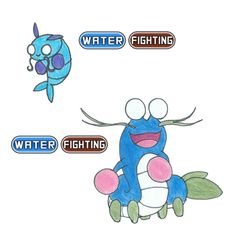 Water Fighting Fakemon Evolution Line by MissMoth42