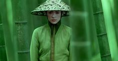 House of Flying Daggers (Yimou Zhang, 2004) Xiao Mei (Ziyi Zhang) dressed in green, matches the dense bamboo forest around her.