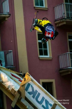 "So I was watching this sport called ""Playstreets"" and it's basically ski slopestyle through a city, there's even a jump off a restaurant! THAT WAS TOTALLY WICKED! Bad Gastein, Skiers, Boarders, Red Bull, Athletes, Austria, Wicked, Restaurant, Sport"