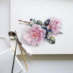 Flowers sketchbook by Katerina Pytina on Behance. Watercolor wildrose