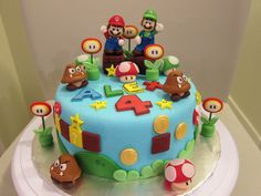 Super Mario Brothers Cake/Cupcake Topper set by SugarArtBakery, $60.00