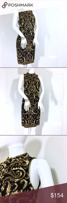 """A. J. Bari Black Halter Black Gold Sequins Dress Can you tell Im in love with Sequins? Call me the sequins queen or not, this piece is just another vintage staples. A must have dress perfect for all the holiday parties. The dress is in great shape, no sequins missing. Hidden zipper and sleeves for outdoor parties in hot weather. It says size 10 but it fits a size 5-6 perfectly fine, specially with some curves in all the right areas. Measurements Length 38"""" Armpit to Armpit 18"""" Bust 17"""" Hips…"""