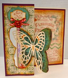 Spellbinders: Fanciful Flight, JustRite Nested Oval Medallions, JustRite Antique Labels One, Diamond Strips and Accents, Venetian Motifs