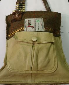 Leather Tweed and Bullet Bag - a completely unique handbag from Joey D, hand made from recycled clothing!