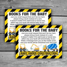 Construction Baby Shower Book Request Cards  by TheDigiSloth