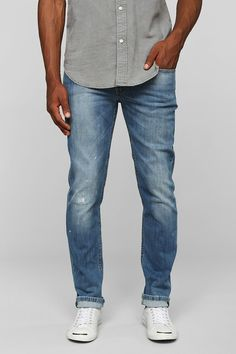 Levis 511 Damaged Stone-Bleach Slim Jean - Urban Outfitters