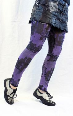 Purple Black Skyline City Burnout Leggings Pants  by xannabotx, $35.00