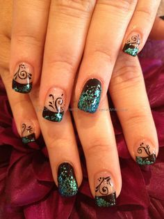 Freehand nail art with glitter