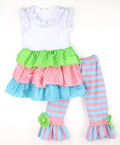 This Pink & Blue Top & Ruffle Pants - Infant, Toddler & Girls is perfect! #zulilyfinds