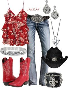 """Red Cowgirl Boots"" by srose38 ❤ liked on Polyvore. super cute, not a big fan of the hat or boots but the rest is adorable."