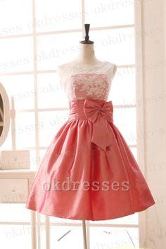 Charming Scalloped Ivory Lace Orange Red Taffeta Knee Length Prom Dress, Back V Bow Short Party Dress,Cocktail Dress, Homecoming Dress