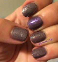 Metallic glitter shiny purple slate grey nail design nail art