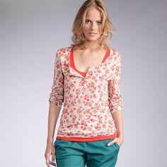 Long-Sleeved Printed Slub Knit Grandad-Style T-Shirt